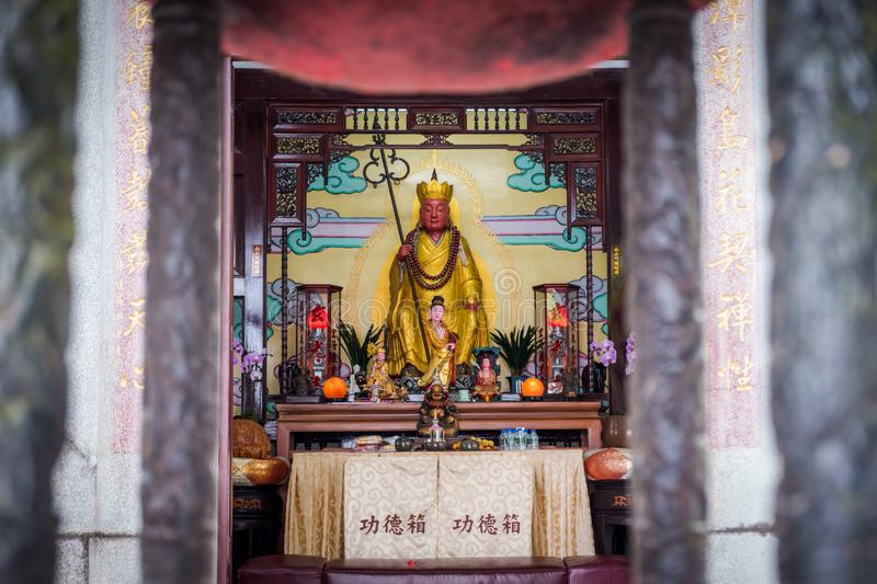 Inside of a famous landmark of Xuanguang temple with Xuanguang statue. Inside of a famous landmark of Xuanguang temple with Xuanguang statue in Sun Moon Lake stock images