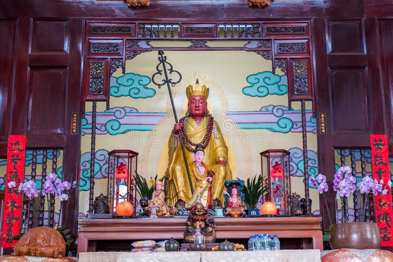 Inside of a famous landmark of Xuanguang temple with Xuanguang statue. Inside of a famous landmark of Xuanguang temple with Xuanguang statue in Sun Moon Lake royalty free stock images