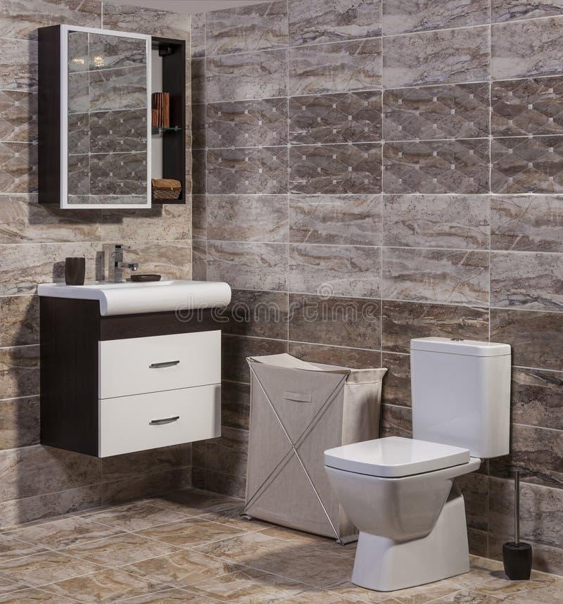 Contemporary Bathroom With Travertine Tiles Stock Photo
