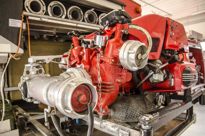 Inside of a fire truck. Firefighter accessory stock photography