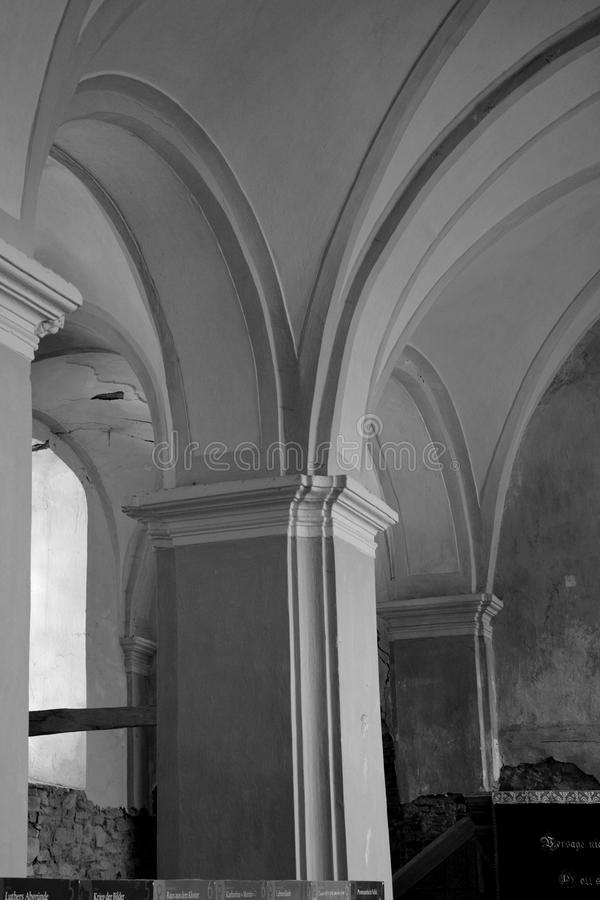 Inside the fortified medieval saxon church in Veseud, Zied, is a village in the commune Chirpăr from Sibiu County. Veseud, Zied, a village in the commune royalty free stock photos