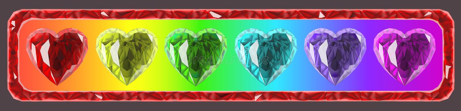 The inside of the frame, are colorful hearts vector illustration