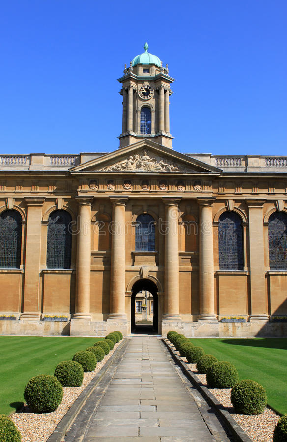 Inside front quadrangle Queens College, Oxford. View from the front entrance looking across the front quadrangle at The Queens College, Oxford University, Oxford stock photography