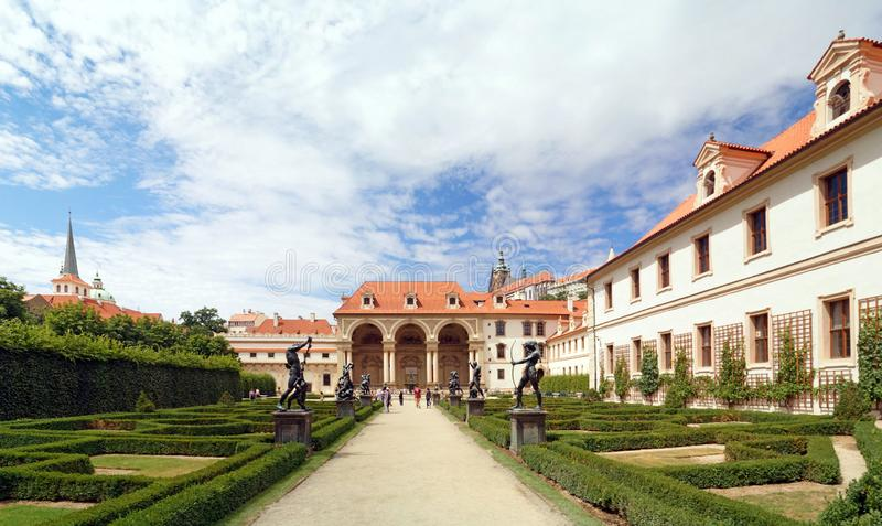 Inside the garden of Wallenstein Palace in Prague stock photo