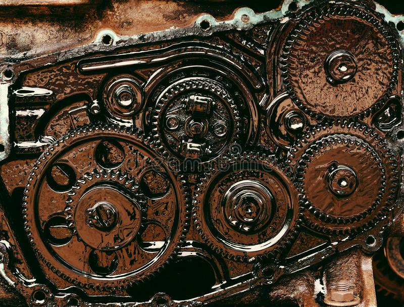 Inside gear Of the engine stock images
