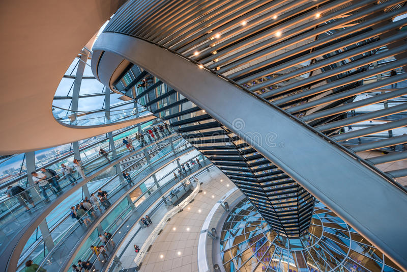 Inside of the German Reichstag, parliament. A beautiful view inside of the German Reichstag, parliament. Beautiful interior with glass and steel is a masterpiece royalty free stock photos