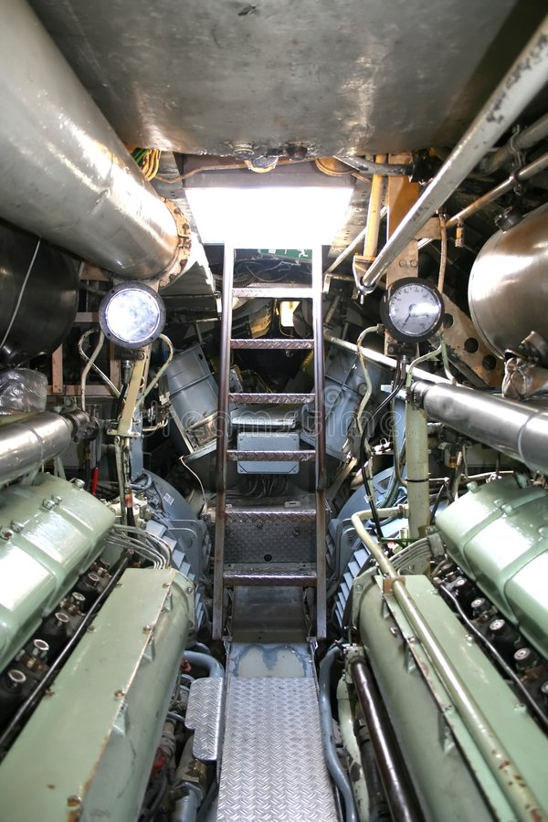Inside German submarine stock photography