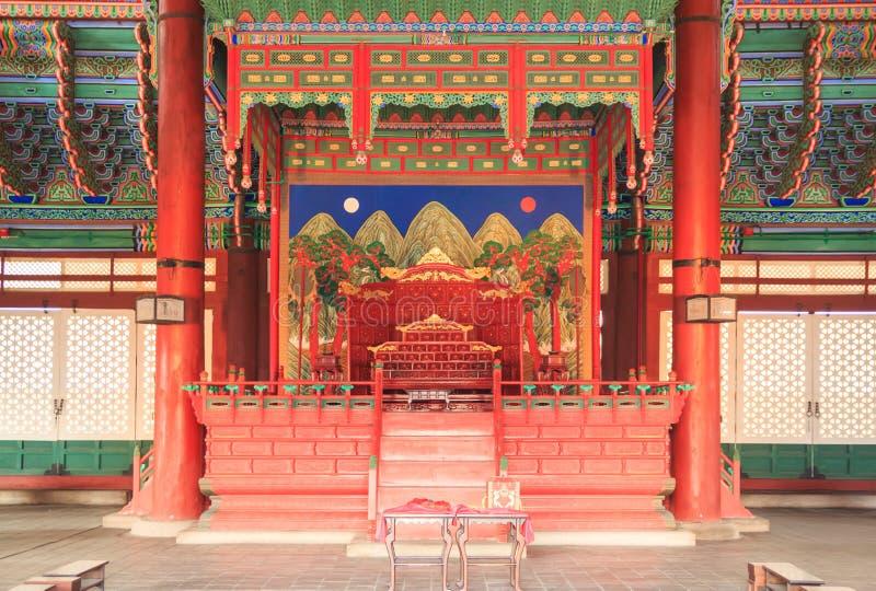 Inside of the Geunjeongjeon, the throne hall in Gyeongbokgung Palace. SEOUL, SOUTH KOREA - Mar 19, 2017: Inside of the Geunjeongjeon, the throne hall in stock image