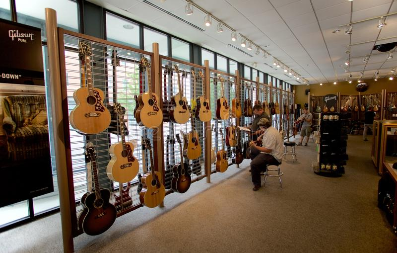 Inside the Gibson Guitar Factory in Memphis, Tennessee. Gibson Guitar Corporation is an American maker of guitars and other instruments, now based in Nashville royalty free stock photo