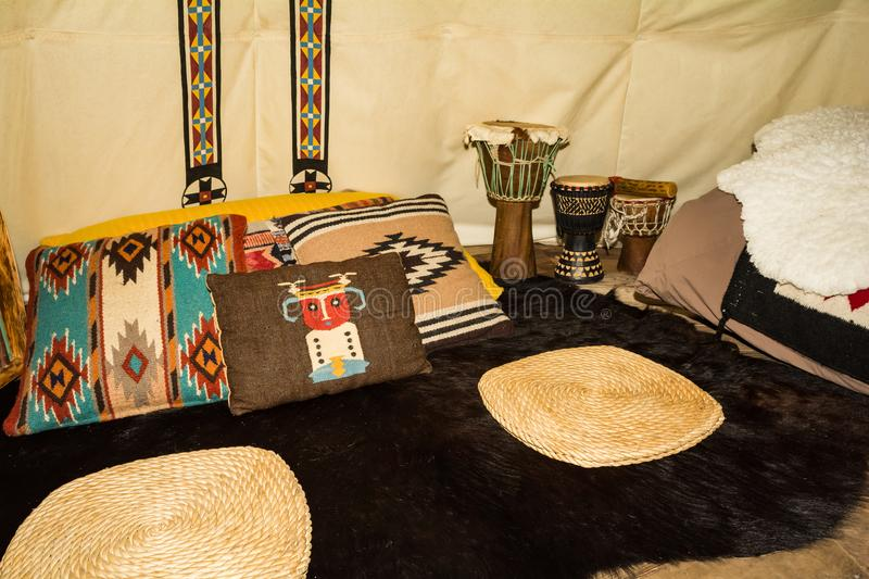 The inside of a Glamping Teepee royalty free stock photos