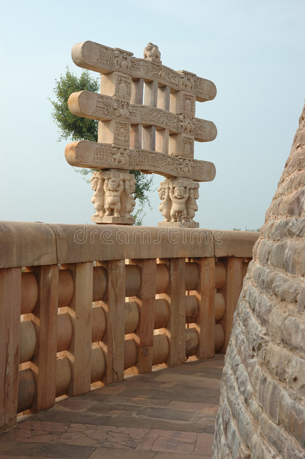 Inside Great Stupa at Sanchi,India royalty free stock photography