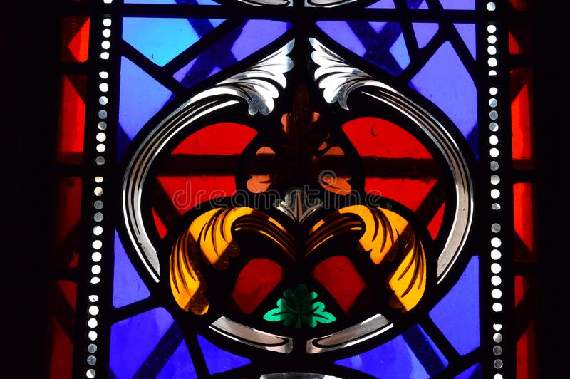 Inside the Great Tower - Stained glass window. Inside the Great Tower Dover Castle Kent England United Kingdom royalty free stock photography