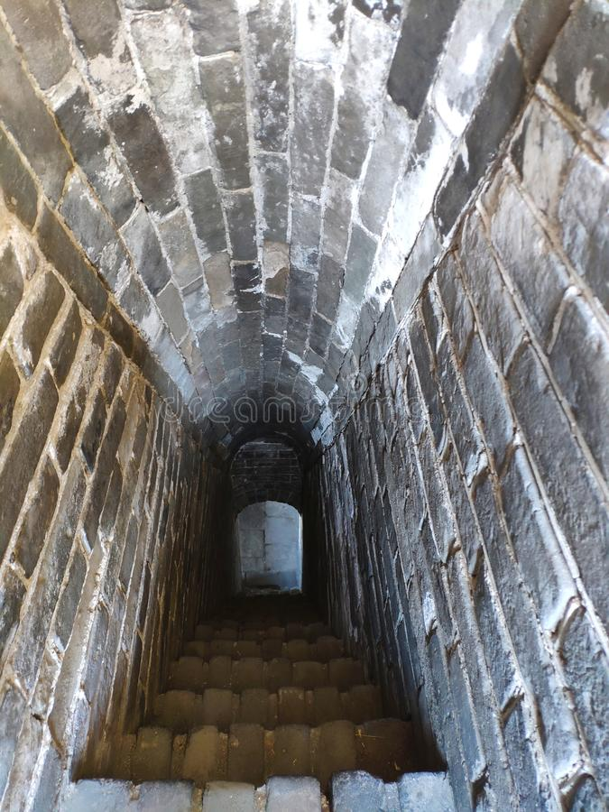The inside of THe Greatwall rebuilt in Ming Dynasty. Huang yaguan Greatwall rebuilt in Ming Dynasty by General Qi Jiguang stock photos