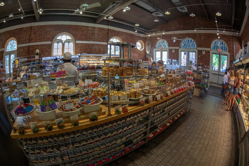 Inside a grocery store arranged in an old hall stock images