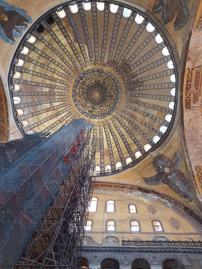 Inside of Hagia Sofia in Istanbul stock photos