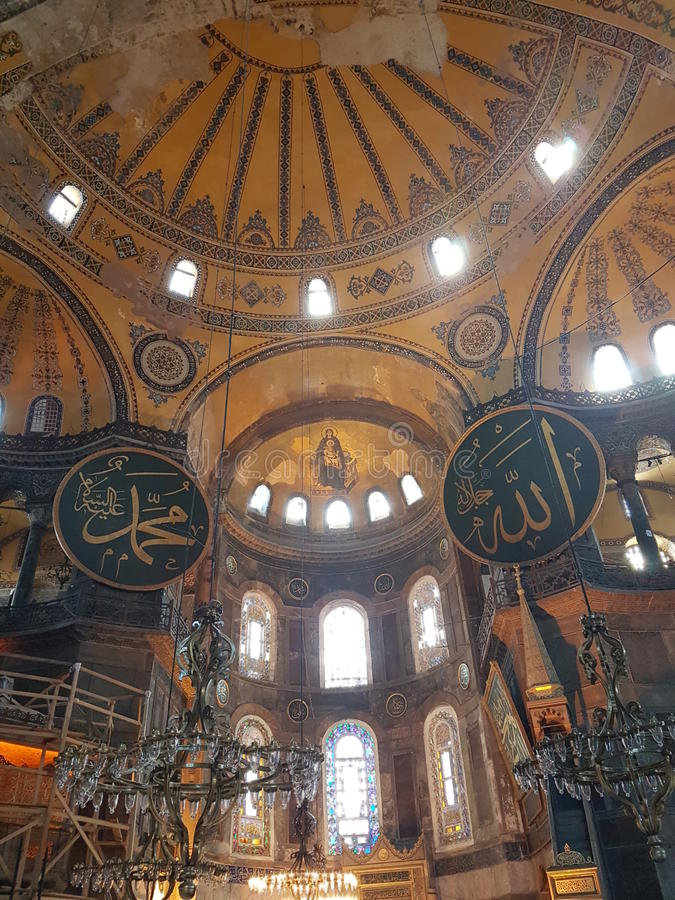 Inside of Hagia Sofia in Istanbul royalty free stock photography