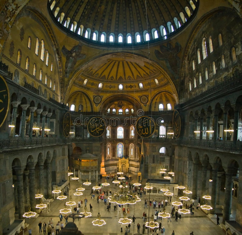 Inside the Hagia Sophia stock images