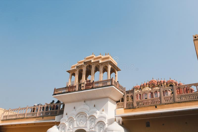 Inside of the Hawa Mahal or The palace of winds at Jaipur India. It is constructed of red and pink sandston. E stock photos