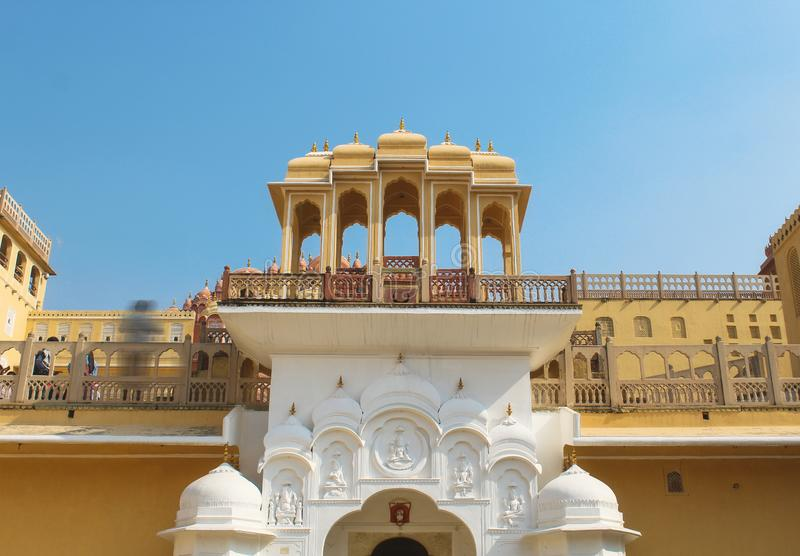 Inside of the Hawa Mahal or The palace of winds at Jaipur India. It is constructed of red and pink sandston. E royalty free stock photo