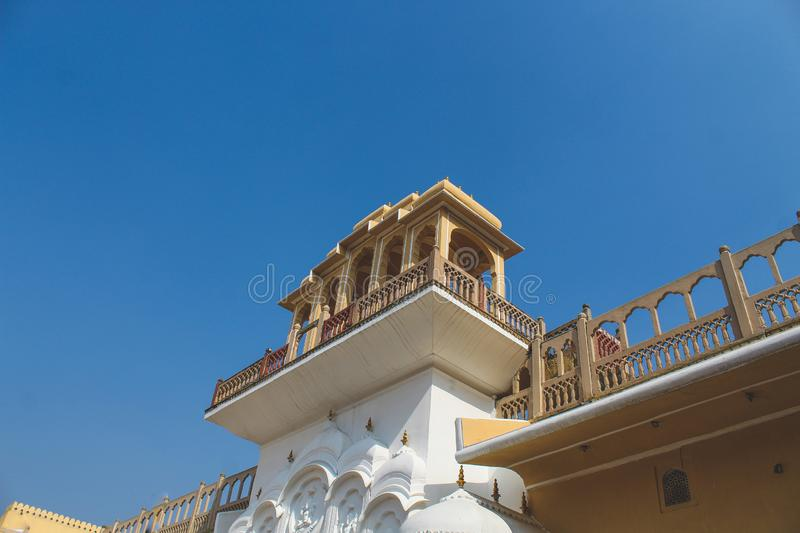 Inside of the Hawa Mahal or The palace of winds at Jaipur India. It is constructed of red and pink sandston. E stock photography