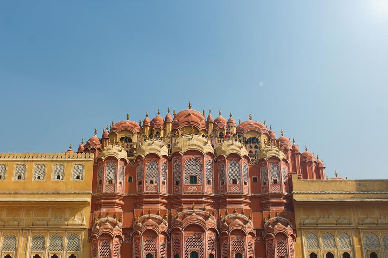 Inside of the Hawa Mahal or The palace of winds at Jaipur India. It is constructed of red and pink sandston. E royalty free stock photography