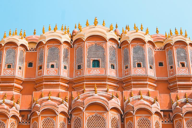 Inside of the Hawa Mahal or The palace of winds at Jaipur India. It is constructed of red and pink sandstone.  royalty free stock photography