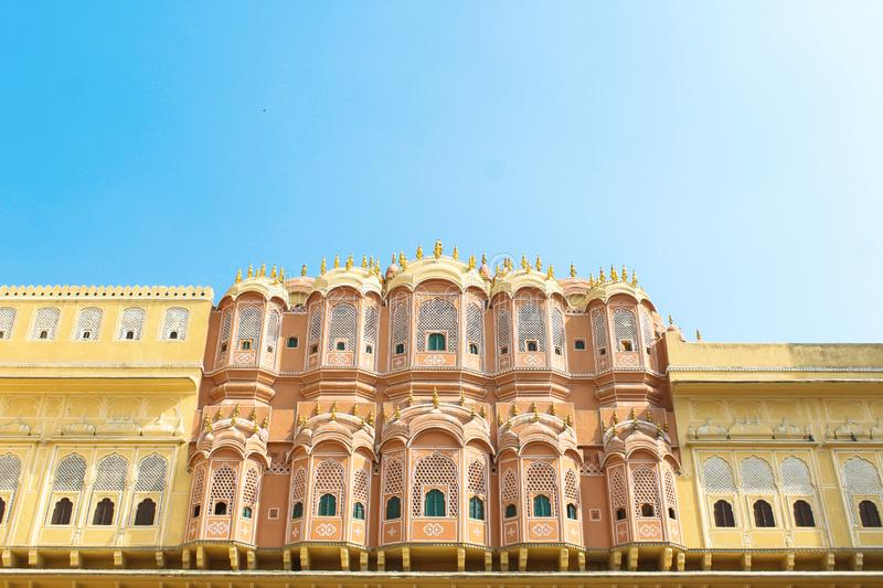 Inside of the Hawa Mahal or The palace of winds at Jaipur India. It is constructed of red and pink sandstone.  royalty free stock photos