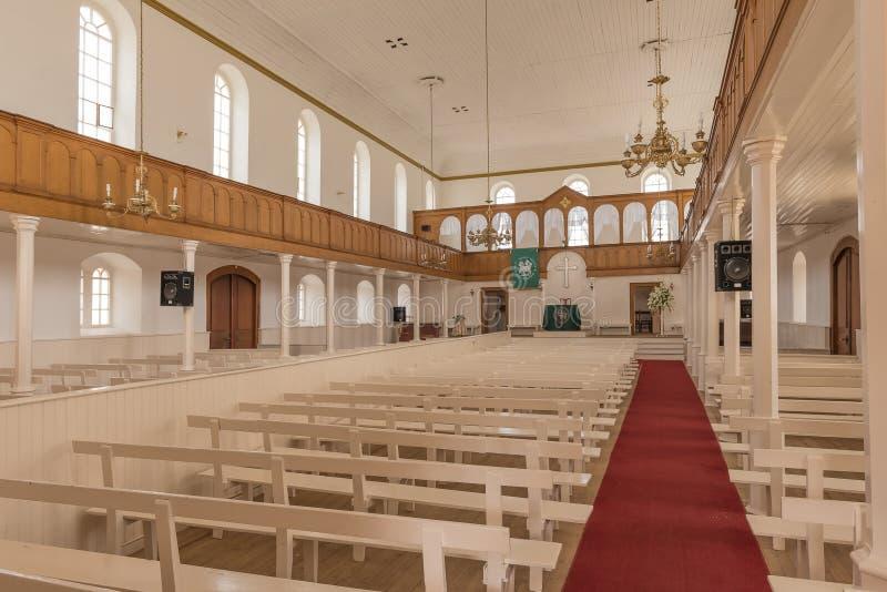 Inside of the historic Moravian Church in Genadendal stock photos