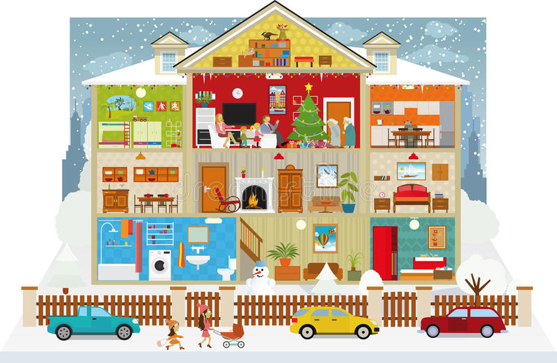 Inside the house (christmas) royalty free illustration