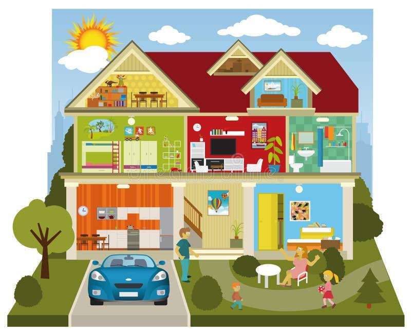 Inside the house stock illustration