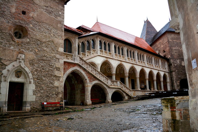 Inside Hunedoara Castle, called Corvin Castle in Transilvania. Hunedoara Castle, called Corvin Castle, the Corvin or Huniazilor, is the medieval fortress of royalty free stock photos