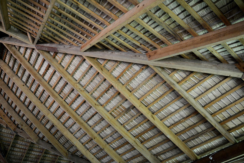 Inside of a hut roof stock image