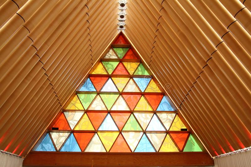Christchurch temporary cardboard cathedral, new zealand. The inside if the Cardboard cathedral in Christchurch built to replace the earthquake damaged city stock photography