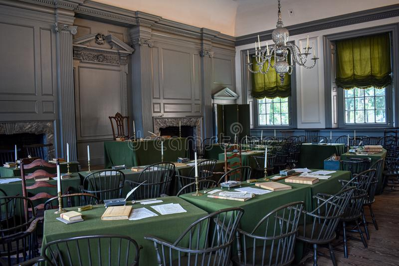 Assembly room in Independence Hall Continental Congress. Inside Independence Hall the Assembly room where the Continental Congress met and wrote the Declaration stock photos
