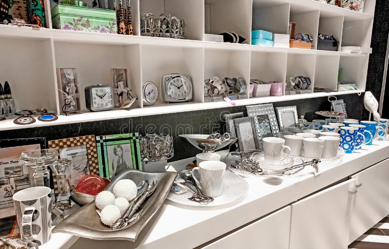 Inside Interior of a Kitchenware Store stock images