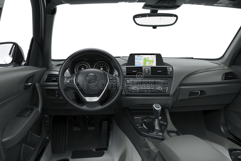 The inside or interior of a modern car stock illustration