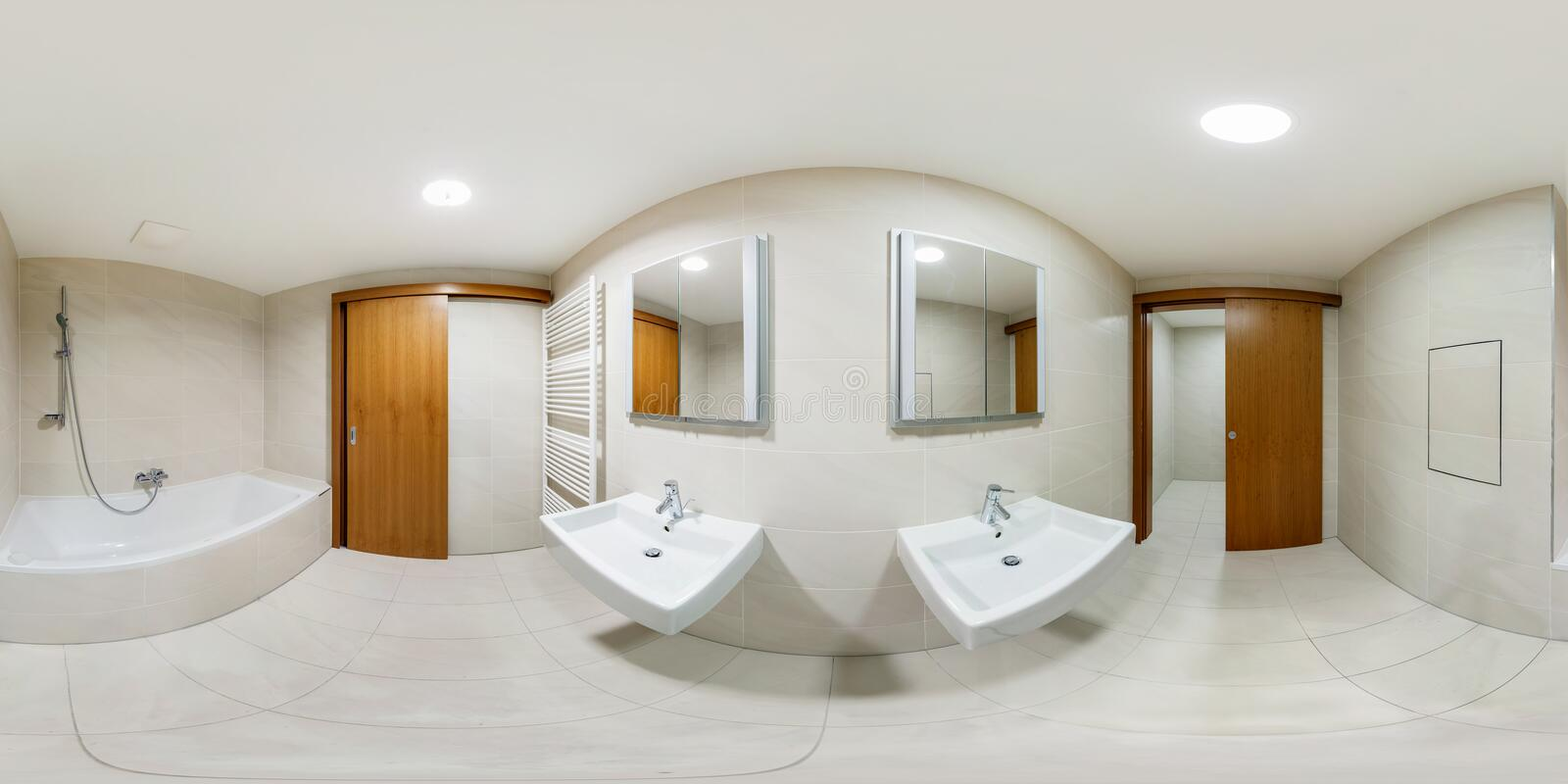 Inside of the interior of white bathroom in minimalistic style. Full 360 degree panorama royalty free stock photography