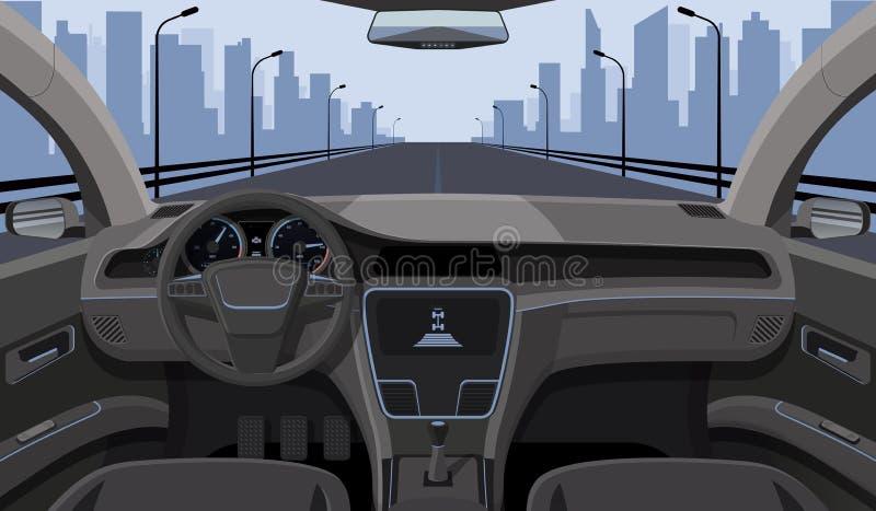 Inside kierowcy widok z rudder, deska rozdzielcza przodem i autostradą w przedniej szyby kreskówki autostrady wektoru ilustraci,  royalty ilustracja