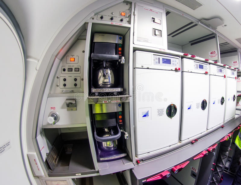 Inside the kitchen of the Boeing 737-800. Russia, Saint-Petersburg, November 2016. Inside the kitchen of the Boeing 737-800. Russia, Saint-Petersburg, November stock photos