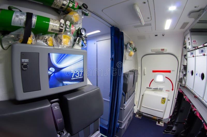 Inside the kitchen, control panel foe sterwardess of the Boeing 737-800. Russia, Saint-Petersburg, November 2016. Inside the kitchen, control panel foe stock photography