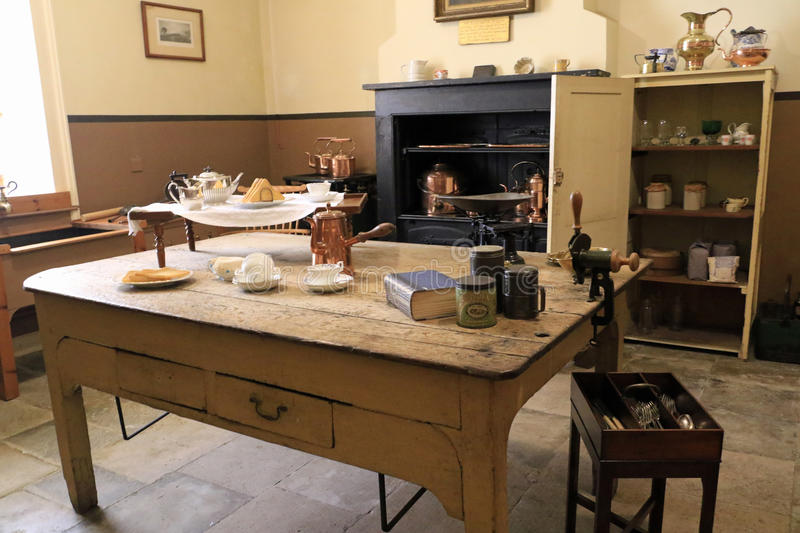 Inside the kitchen. Petworth House in the parish of Petworth, West Sussex, England, is a late 17th-century Grade I listed country house, rebuilt in 1688 by royalty free stock photography