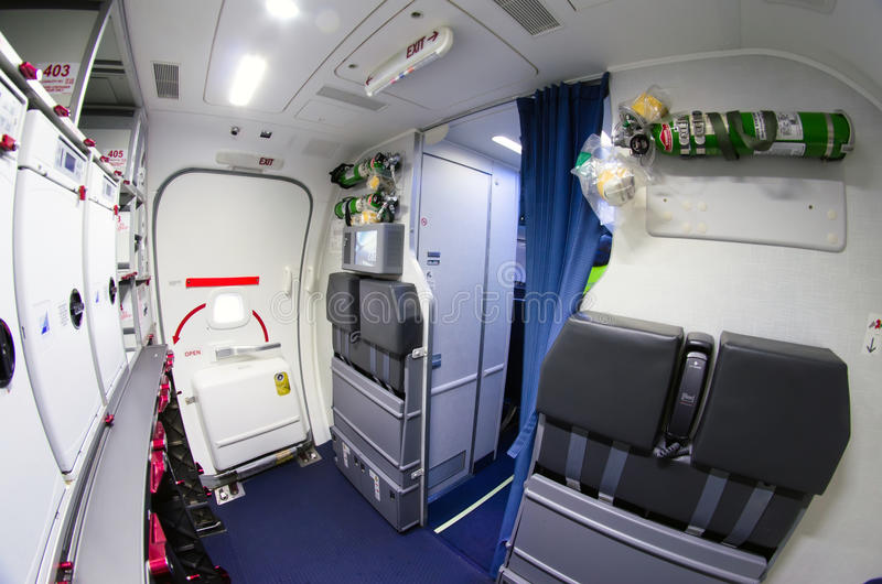 Inside the kitchen, toilet of the Boeing 737-800. Russia, Saint-Petersburg, November 2016. Inside the kitchen, toilet of the Boeing 737-800. Russia, Saint royalty free stock images