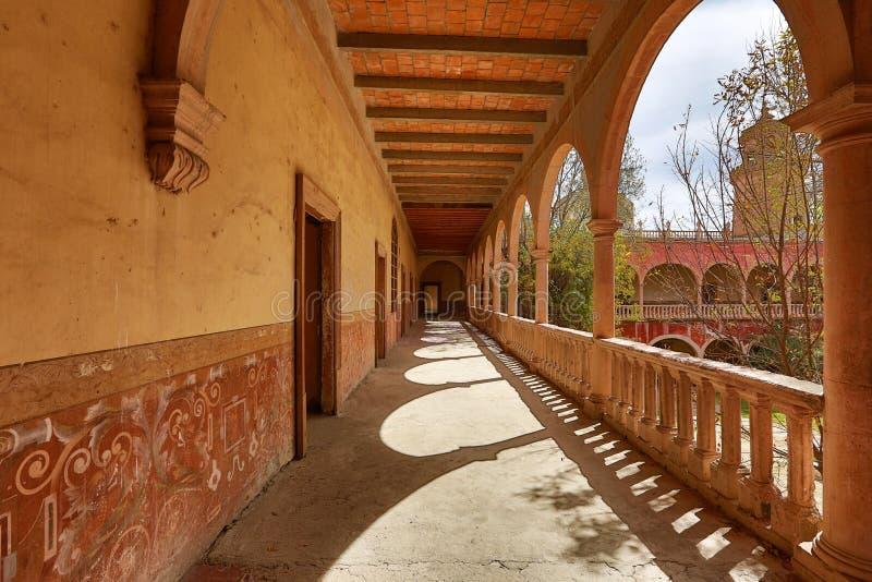 Inside korytarz jaral De Berrio hacjendy zdjęcia stock