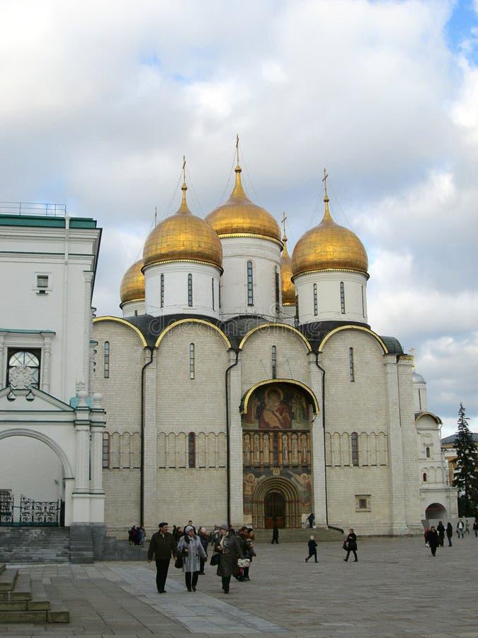Inside Kremlin. View of Assumption Cathedral Uspensky sobor royalty free stock image