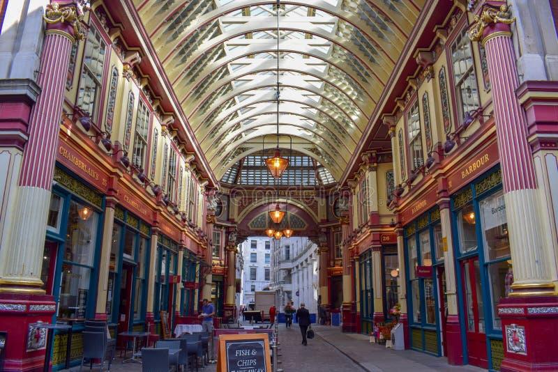 Inside Leadenhall Market on Gracechurch Street in London, England stock image