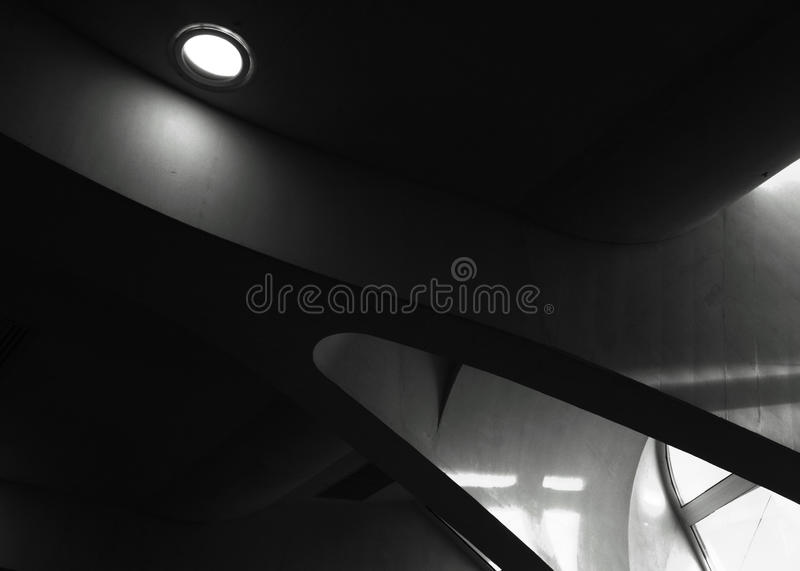 Inside light. Shot in black and white, detail on a modern building placed at the Ciutat de les arts, set in Valencia, España, Spain, Europa, Europe stock images