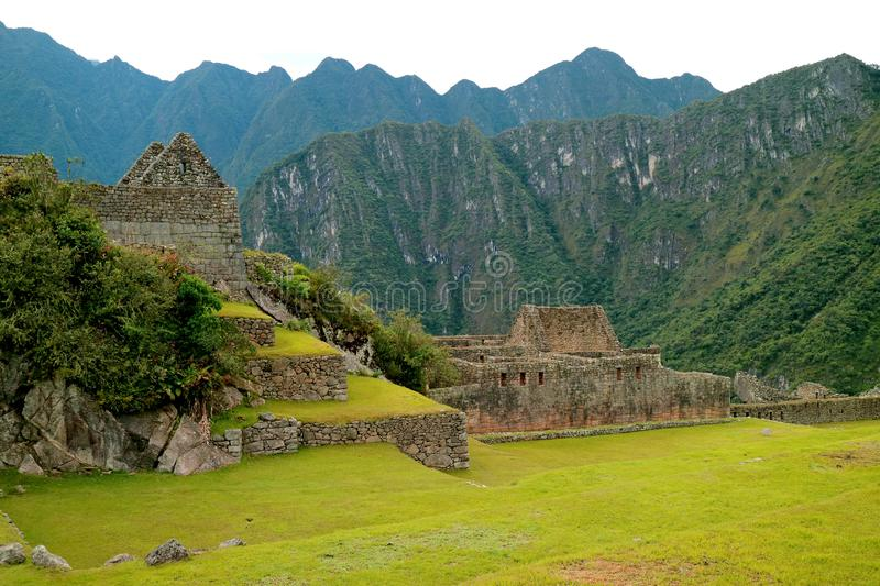 Inside the Machu Picchu Ancient Inca Citadel on the Mountainside of Cusco Region, Peru. South America royalty free stock images