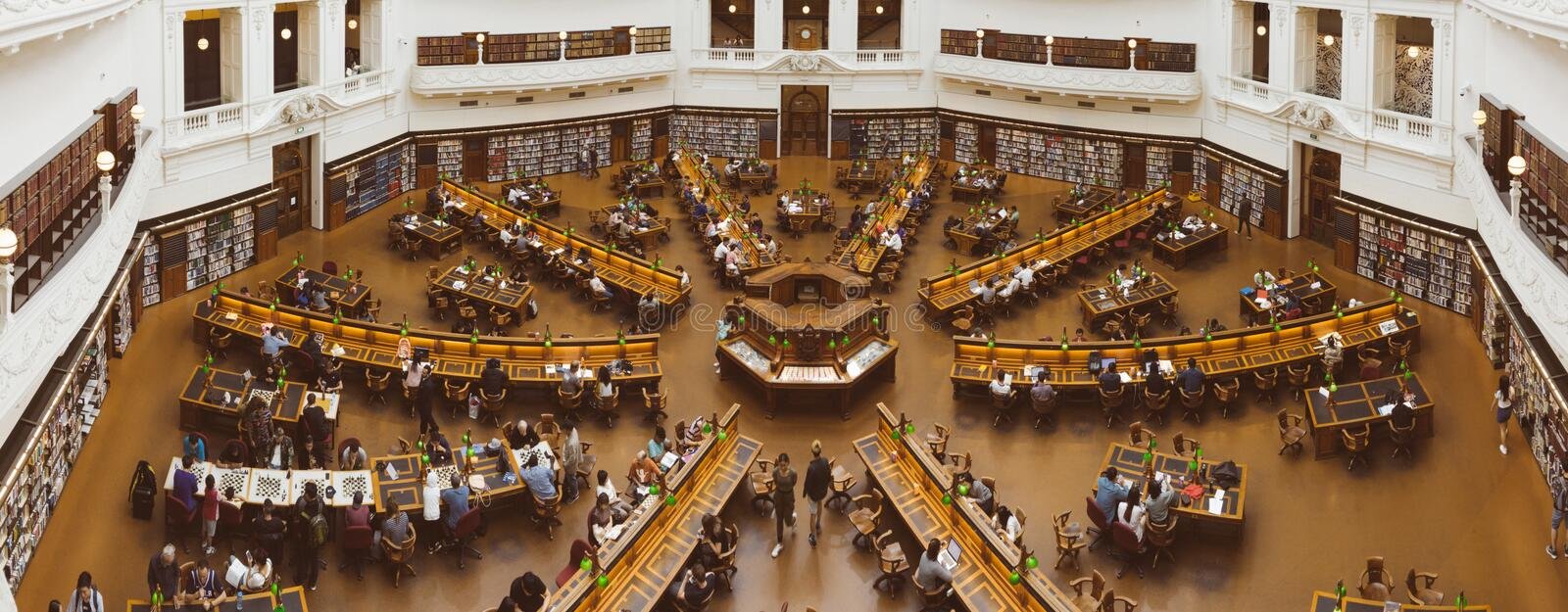 Inside the main dome of the Victorian State Library stock photos