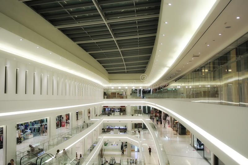 Inside of a Mall. An inside image of multiple levels within a mall in Times Square area of Seoul South Korea stock image