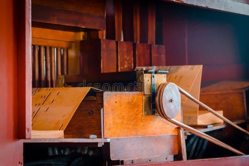 Inside mechanism of a pipe organ stock image